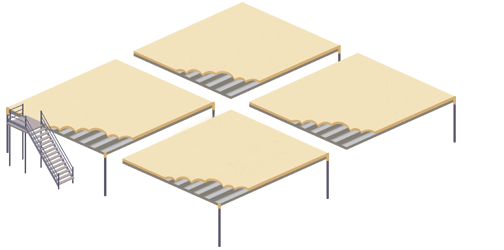 Illustration of 4 mezzanine floor platforms, one with stairs.